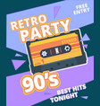 retro party poster 90s label with stereo audio vector image