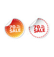 sale stickers 70 percent off on white background vector image vector image