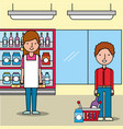 saleswoman supermarket customer man with shopping vector image