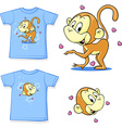 shirt with a picture of merry monkeys - vector image vector image