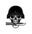 skull in military helmet with knife in teeth in vector image