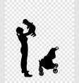 sticker to car silhouette of mother with child vector image