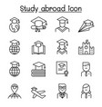 study abroad icon set in thin line style vector image