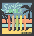 Surfing boards California typography t-shirt vector image vector image