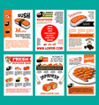sushi menu template set for japanese food design vector image vector image