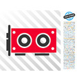 video graphics card flat icon with bonus vector image vector image