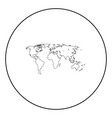 World map black icon in circle outline
