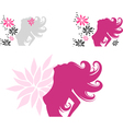 beautiful posing woman silhouette with flowers vector image