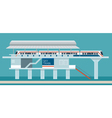 Sky train Station Flat Design Objects vector image