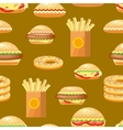 Seamless fast food background pattern with vector image