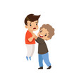 angry boy beating another who is weaker bad vector image vector image