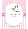 baby shower girl stork with a baby vector image