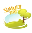 Cartoon Summer Landscape Background Summer tree vector image vector image