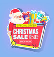 christmas sale sticker santa claus vector image vector image