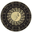 circle zodiac signs with sun and moon vector image vector image