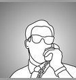 close-up businessman with glasses using retro vector image vector image