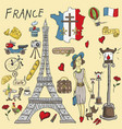 color travel 1 to europe france symbols and vector image