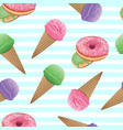 cute ice cream and donut vector image