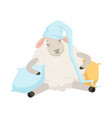 cute sleeping sheep character wearing hat funny vector image vector image