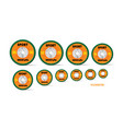 different orange weight plates numbered weights vector image