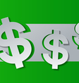 Dollar Signs Cut from White Paper on Green vector image