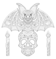 entangle stylized bat seating on sugar skull vector image
