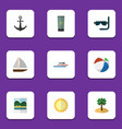 flat icon summer set of boat sunshine reminders vector image vector image