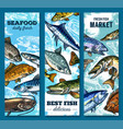 fresh seafood and fish market sketch banner set vector image vector image