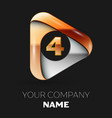 golden number four logo in golden-silver triangle vector image vector image