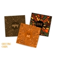 Greeting cards with leaf doodle vector image