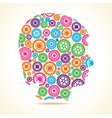 Group of colorful gears make a male face vector image