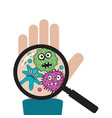 hand with germs and bacteria vector image