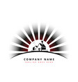 house with sun rays company logo design vector image