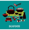Japanese seafood in flat style vector image vector image