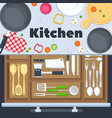 kitchen design background with cooking vector image vector image