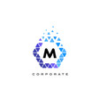 m blue hexagon letter logo with triangles vector image