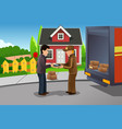 mailman delivering a package vector image
