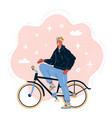 male cyclist riding a bike vector image vector image