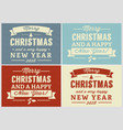 merry christmas retro label set vector image vector image