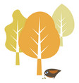 nature with bird and leaf element hand drawn vector image vector image