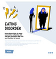psychology eating disorder anorexia or bulimia vector image vector image