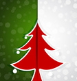 red tree paper christmas card vector image vector image
