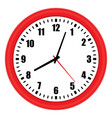 red wall clock over white vector image vector image