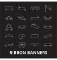 ribbon banners editable line icons set on vector image