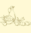ripe olives with leaves vector image vector image