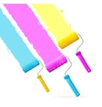 roller brushes with CMYK paint vector image