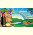 rural landscape with wine and grapes and wooden vector image vector image