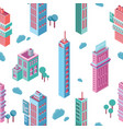 seamless pattern with isometric city buildings and vector image vector image