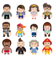 series cute characters occupations icons vector image vector image
