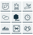 set of 9 ecology icons includes bonfire sun vector image vector image